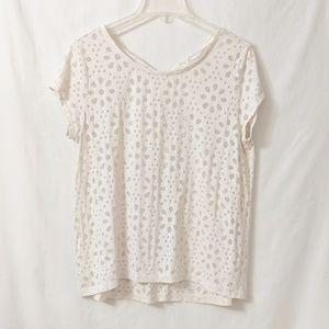 Ann Taylor Loft Cream T Shirt with sheer detail L